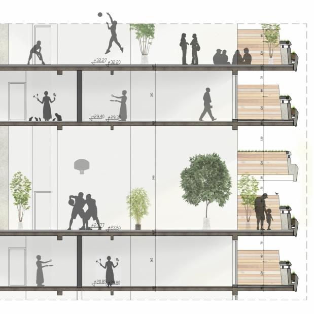 Partial Section through semi-public spaces